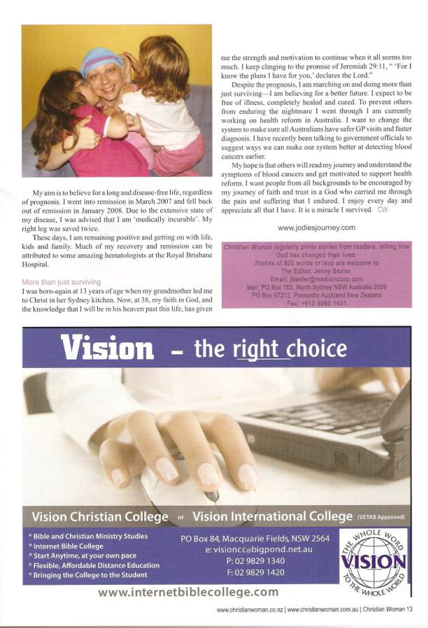 Jodie's Journey was featured in the Jan/Feb, 09 edition of Christian Woman.